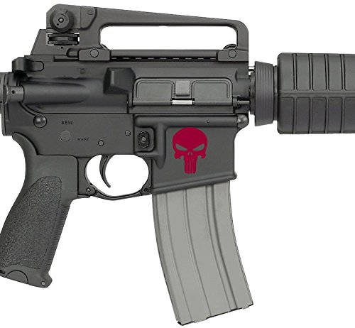 AR15 / Airsoft Lower Decals Kit - Punisher Inspired for Magwell (Blood Red)