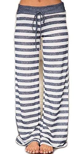 (Artfish Women's Stretch Cotton Pajama Lounge Pants Striped Sleepwear (2XL, Grey Striped))