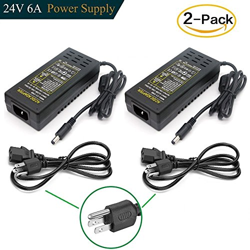 DC 24V 6A Power Supply Adapter, Superpower AC 100-240V to DC 24V Transformers, Wall Plug Switch 5.5mm x 2.1mm DC Plug Power Supply for 24V LED Strip Lights (Pack of 2) (24 Volt 6 Amp Power Supply)