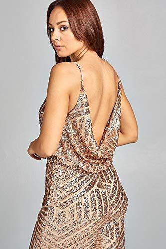 babd592336f Amazon.com  Prima DND Studio Full Sequin Wide Leg Drape Front Jumpsuit   Clothing