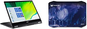 """Acer Spin 5 Convertible Laptop, 13.5"""" 2K 2256 x 1504 IPS Touch with Acer Predator Alien Jungle Mousepad, Black"""