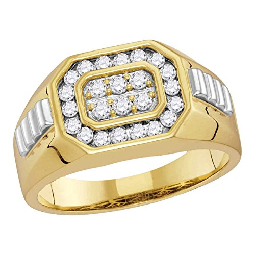 Diamond Mens Ring Solid 14k White Yellow Gold Fashion Band Rectangle Round Cluster Set Two Tone 1/2 (Rectangle Two Tone Ring)