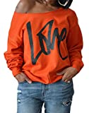 Women's Long Sleeve Sexy Off Shoulder Love Letters Printed Pullovers Sweatshirts Size Large (Orange)