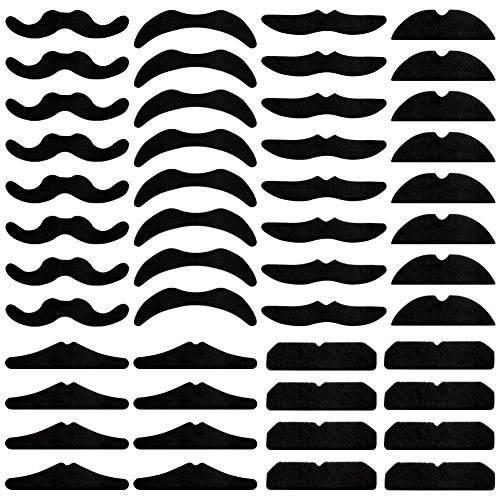 URlighting Fake Mustaches (48 Pcs) Self Adhesive Novelty Mustaches for Party Beards Accessories, Masquerade Party & Performance, Costume and Halloween Party, Suitable for Adults Kids (Black)]()