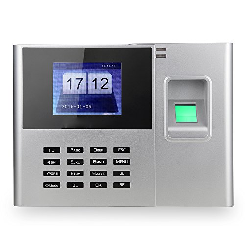 Aibecy Biometric Fingerprint Password Attendance Machine Employee Checking-in Recorder 2.8 inch TFT LCD Screen DC 5V Time Attendance Clock by Aibecy