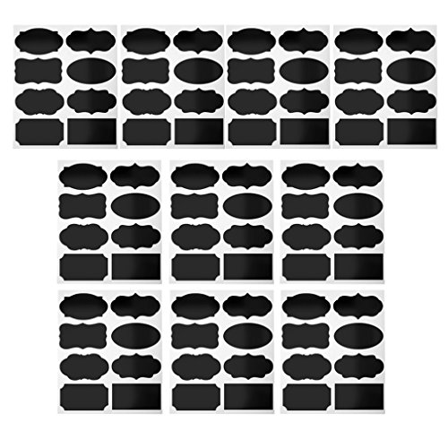 Chalkboard Labels Kit , 80Pieces Reusable Stickers with 8 Different Trendy Designs Perfect for Kitchen / Office Jam or Mason Jars, Beer, Wine, Storage from Non-brand