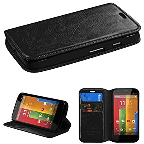Wydan Leather Card Holder Wallet Case with Stylus Pen and Screen Protector for Motorola Moto G 2nd Gen - Black