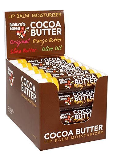 Nature's Bees Cocoa Butter Lip Balm, Mango Butter Flavor, 24 Pieces, Made in The USA, with Beeswax, Cocoa Butter, Coconut Oil, Vitamin E, Aloe, and Sunflower Oil (Mango Butter)