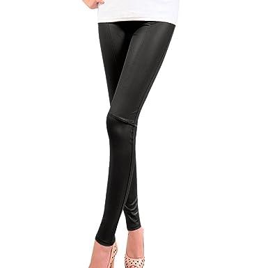 259a8addb8ea0f Roiper Pants Women Shiny Skinny Stretchy High Waist Patchwork PU Faux  Leather Leggings Pencil Pants (