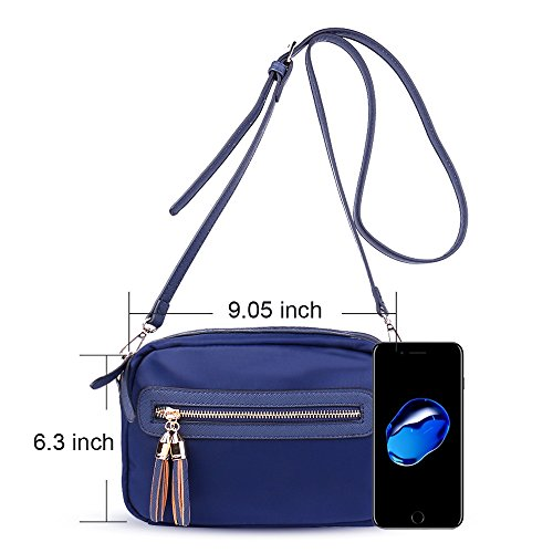 Cellphone Shoulder Bags for Korjo Bag Bags Women Messenger Blue Nylon Zipper Crossbody Purse 3 Girls with RTqPOf