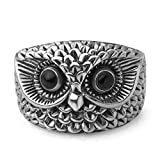 Chuvora 925 Oxidized Sterling Silver Vintage Wisdom Owl Face Bird Band Ring Women Jewelry Size 9