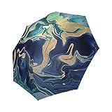 Custom Gold Indigo Marble Compact Folding Travel Umbrella
