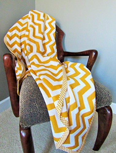 Yellow Chevron Knitted Throw Blanket
