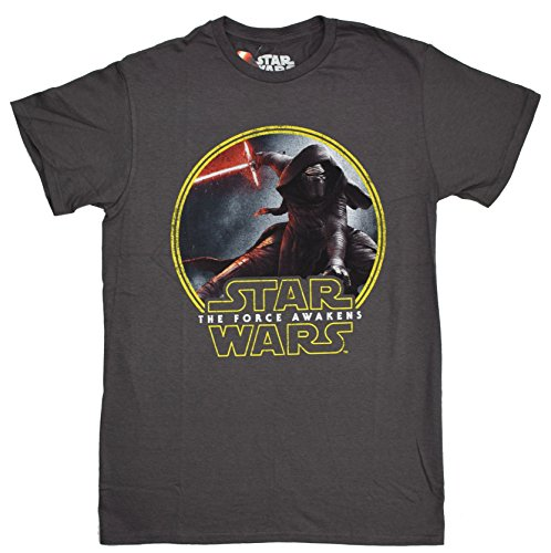 Star Wars Force Awaken Kylo Ren Badge T-shirt (XXL, Charcoal)