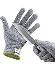 yokamira Gants Anti-Coupure, Protection de Cuisine Bricolage - Résistant, Souple, Flexible, Antidérapant Protection de Niveau 5 Conforme à la Norme en 388, 1 Paire