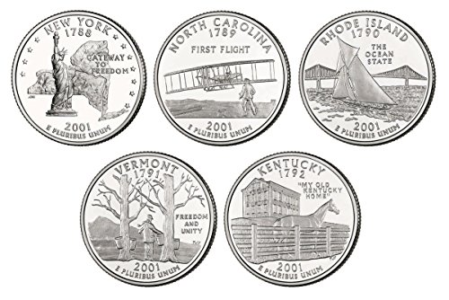 2001 P, D BU Statehood Quarters - 10 coin Set Uncirculated