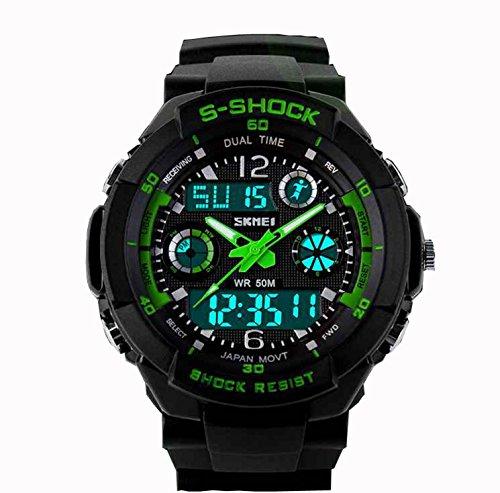 バング年金受給者読書OYangユニセックススポーツ時計多機能緑LEDライトデジタル防水S – Shock腕時計グリーン