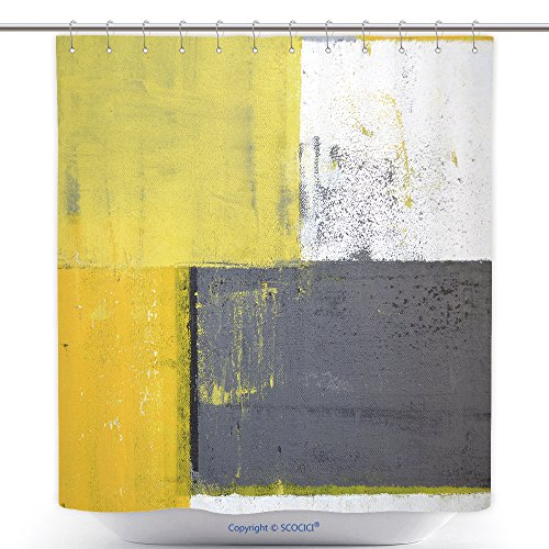 vanfan-Cool Shower Curtains Grey Yellow Abstract Art Painting Polyester Bathroom Shower Curtain Set Hooks(60 x 72 inches)