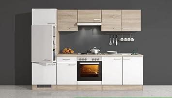 Küchenzeile 270 cm Weiß Sonoma Eiche mit Geräten - Salerno: Amazon ...