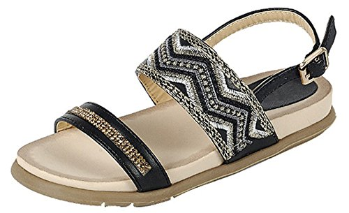 Best Heather Black Soft Embroidered Sequin Sandal Glittery Cut Out Round Toe Gladiator Side Buckle Strap Party Shoe Stylish Classic Inexpensive Flat Sketcher for Sale Little Girl Her (Size 10, Black)