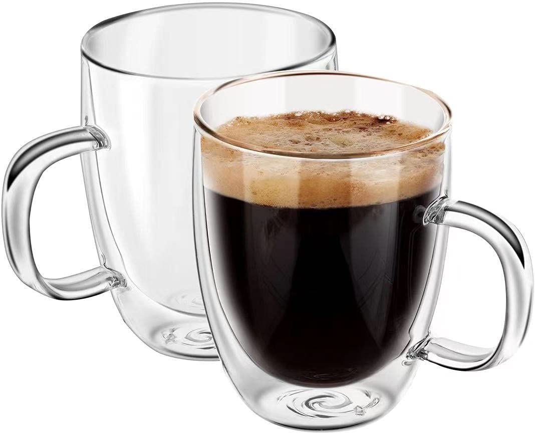 YUNCANG Clear Glass Coffee Mugs,[2-Pack,10 Oz],Double Wall Glass Coffee Mugs with Handle,Glass Cappuccino Cups,Espresso Cups,Tea Cups,Latte Cups,Glass Beverage Mugs