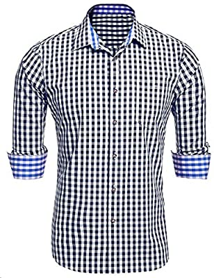 DAZZILYN Men's Plaid Shirts with Hoodies Slim Fit Long Sleeve Button Down Shirt