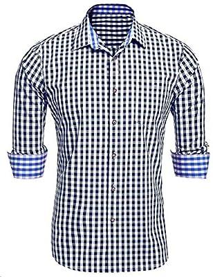 DAZZILYN Men's Plaid Shirts with Hoodies Slim Fit Long Sleeve Button Down Shirt