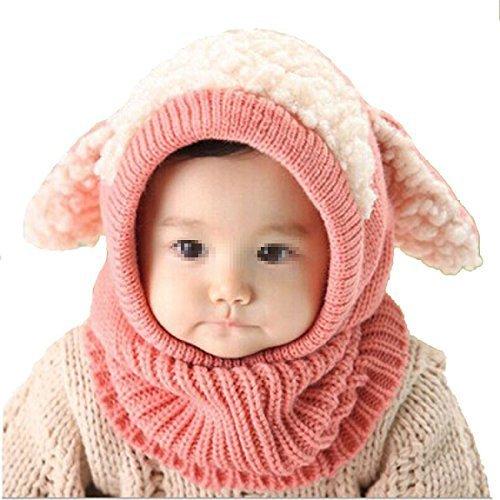 Butterme Winter Baby Kinder Mädchen Jungen Warme Wollene Haube Strickmütze Schal Mützen Wolle Hüte Pink