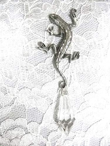 New Hand Engraved Lizard Gecko w XL Dazzling Dangling Crystal Pendant Necklace KEZ-1822