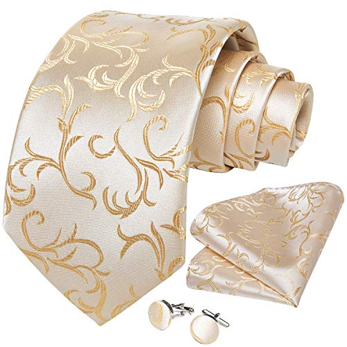 DiBanGu Men's Silk Tie and Pocket Square Woven Formal Tie Cufflink Set Solid Neckties