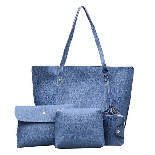 Leather Casual Vintage Halijack Messenger Women Satchels Sale Beach Tassel Package Crossbody Classic Party Bag Card Bag Tote Blue Purse Handbag Handbag 4Pcs Womens Clearance ZpxxTnF
