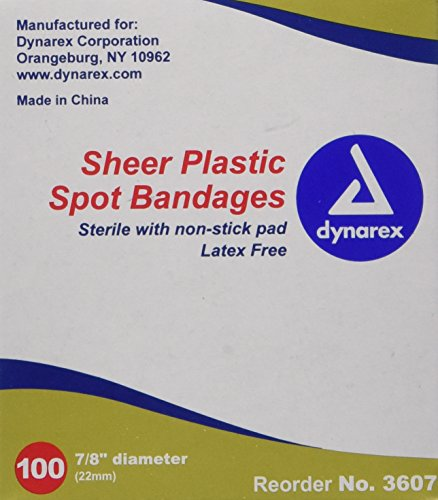 Dynarex Adhesive Sheer Spot Bandage, 7/8 Inches, 100 Count (Pack of 4)
