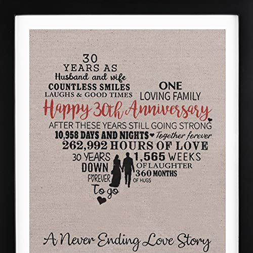 Framed 30th Anniversary Heart Burlap Print Decorations, 30 Years Wedding Anniversary Gift for Men, 30th anniversary Gift for Women ()