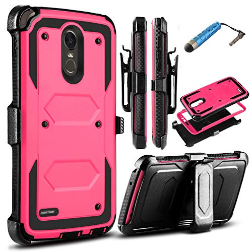 LG Stylo 3 Case,KooJoee LG Stylo 3 Plus Case, Heavy Duty Shockproof Dual-Layer Armor Rugged Protection Holster [Belt Clip][Kickstand] W/Built-in Screen Protector for LG Stylo 3 Stylo 3 Plus Hot Pink