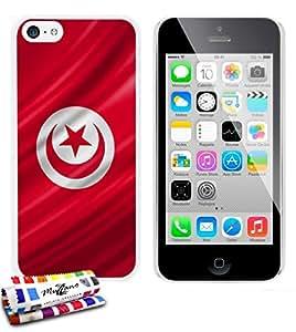 MUZZANO Carcasa Rigida Ultra-Slim Apple iPhone 5C de Exclusivo Motivo [Tunez Bandera] [Blanca] Estilete y Paño REGALADOS - La Protección Antigolpes Ultima, Elegante Y Duradera para su Apple iPhone 5C