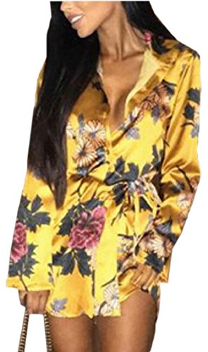 Jaycargogo Des Femmes De L'impression De La Mode Bouton Manches Longues Chemise Mini Robe Jaune