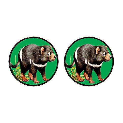 (GiftJewelryShop Gold Plated Tasmanian Devil Photo Stud Earrings 12mm Diameter)