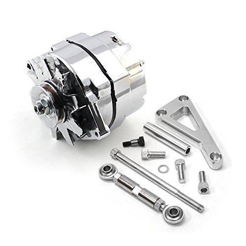 Chevy SBC 350 100 Amp 3 Wire Alternator & LWP Aluminum Bracket Kit Polished