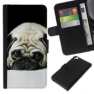 EJOY---La carpeta del tirón la caja de cuero de alta calidad de la PU Caso protector / HTC Desire 820 / --Pug perro triste observa mascotas Cute Puppy