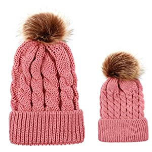 Parent-Child Hat Warmer Mother and Baby Daughter and Son Winter Warm Knit Hat Family Crochet Beanie Ski Cap Pink Pack of…
