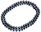 "33"" long 9.5-10.5mm Dyed Black Freshwater Cultured Pearl Opera Necklace -nk289"
