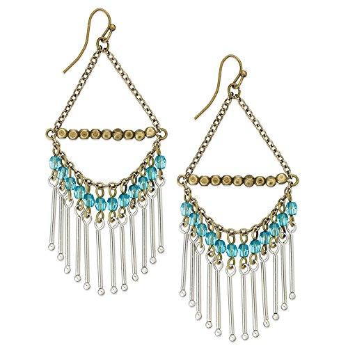 - American Rag Earrings, Two-Tone Aqua Blue Bead Chandelier Earrings