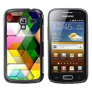 Caucho caso de Shell duro de la cubierta de accesorios de protección BY RAYDREAMMM - Samsung Galaxy Ace 2 I8160 Ace II X S7560M - Polygon Pattern Pastel Colorful 3D