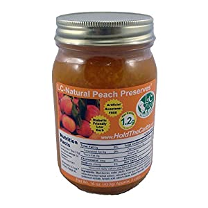 Low Carb Peach Preserves - LC Foods - All Natural - No Sugar Added - Paleo - Gluten Free - Diabetic Friendly - Low Carb Jam - 16 oz