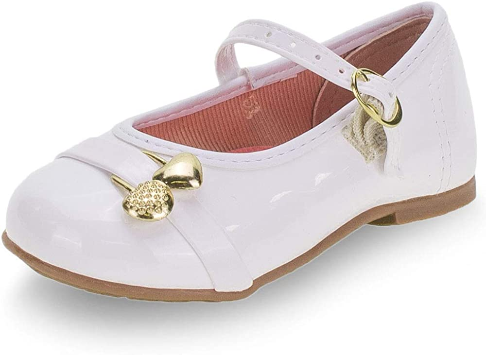 MOLEKINHA Kids' Girl Ballet Flat Buckle Closure Comfort Cute White