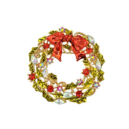 Winter's Secret Yellow Christmas Wreath Brooch Bowknot Diamond Accented Women - Pink Sunglasses Drake