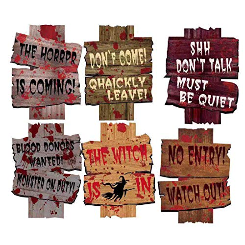 6 Pieces Beware Signs Yard Stakes Halloween Decorations Outdoor Creepy Assorted Warning Sign, Spooky Warning Props for Horror Decorations