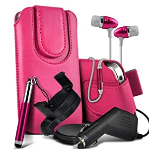 Nokia Lumia 920 premium protección PU botón magnético ficha de extracción Slip Cord En Pouch Pocket Case rápida cubierta, superior de la calidad de la piel en auriculares de botón estéreo de manos libres de auriculares Auriculares con micrófono Mic y botón de encendido y apagado, Retractable Stylus Pen, 12v Micro Cargador y 360 Rotating Carholder del montaje del coche de las rosas fuertes por Spyrox