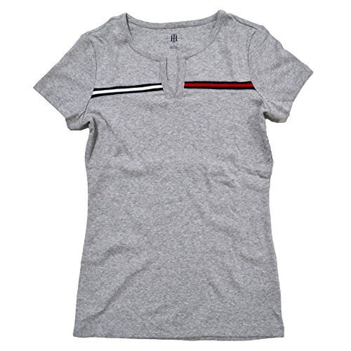 Tommy Hilfiger Womens Split-Neck T-shirt (Gray, X-Large)