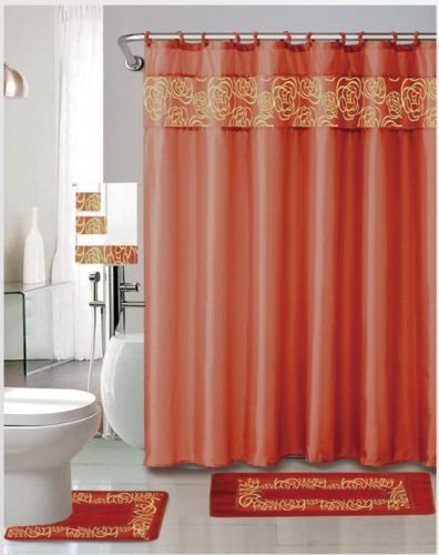 SALLY TEXTILES INC Julie Orange 18 Pieces Shower Curtain, 2 Rugs, 3 Piece Towel Set, 12 Metal Roller Rings ()